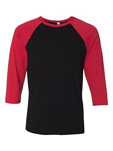 Bella + Canvas Unisex Jersey 3/4 Sleeve Baseball Tee, Black/Red, Medium ()