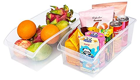 Set of 2 Freezer Bins,Refrigerator Organizer Trays,Large Plastic Fridge Containers for Home Kitchen and Pantry Cabinet Storage Organization,13.4 by 7.2 by 4.8-Inch,Clear,Honla
