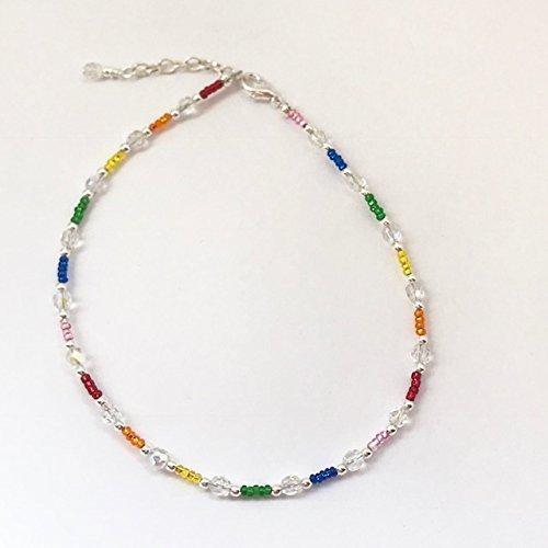 Beaded Anklet/Ankle Bracelet~Rainbow Sparkle
