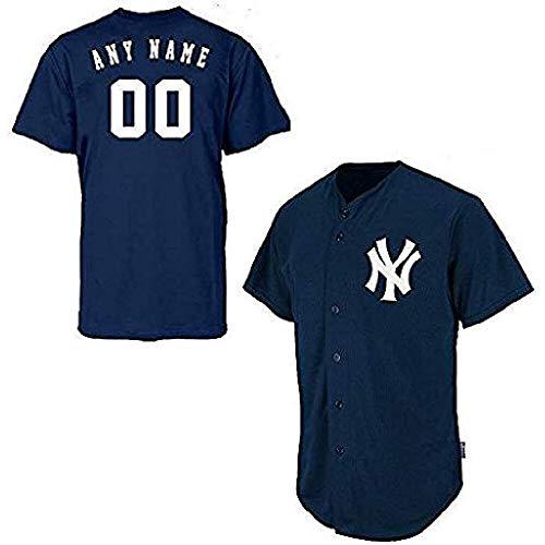 Custom Yankees Shirt (New York Yankees Full Button Custom Adult 3X Navy)