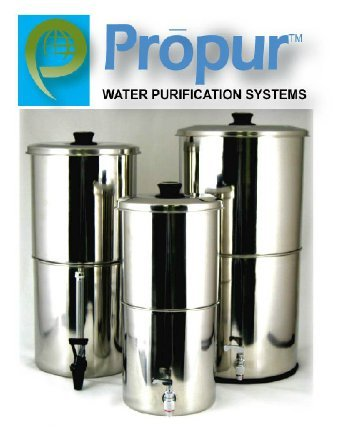 ProPur KING Stainless Steel Water Purification: Includes 2 ProBlack-D Domed Hi-Performance Filter Elements (NSF-42 certified).