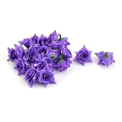 eDealMax Flores artificiales Tela boda Cabeza de manualidades bricolaje pétalos púrpura del ornamento 20pcs