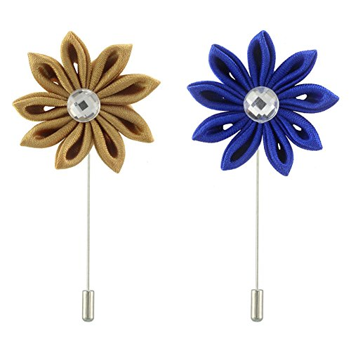 FM FM42 Men's Lapel Flower with Clear Crystal Handmade Boutonniere Pin for Suit Begonia (Champagne & Royal-blue, Pack of 2)