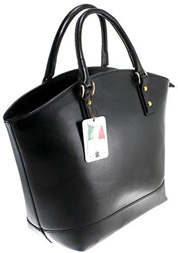 véritable CTM cuir style Fabriqué Mode 100 Italie 35x29x15cm élégante Noir en de italien Classic Ladies Bag PxqrPp