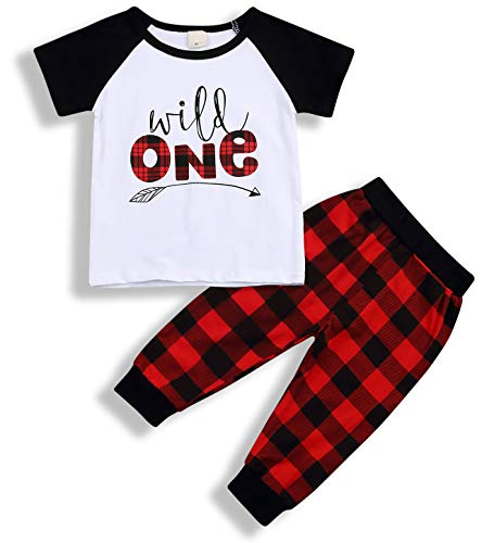 - Babys 1st Birthday Outfits Long Sleeve T-Shirt with Red Plaid Pant and Hat Costume (White Red B, 18-24 Months)