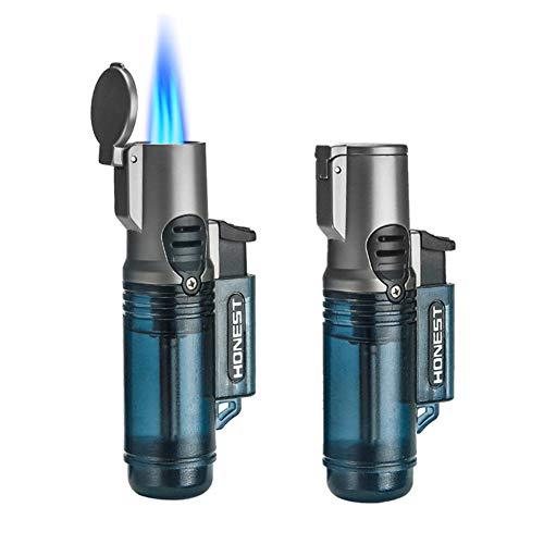 Torch Lighter, Triple 3 Jet Flame Lighter Refillable Gas Butane Lighter, Gift Package, Butane NOT Included (2 Pack Blue)