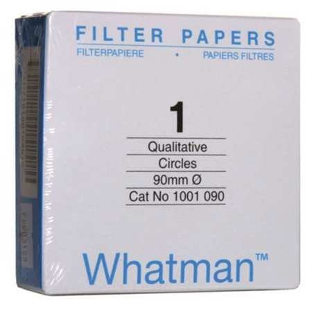 Whatman 1001090 Quantitative Filter Paper Circles, 11 Micron, 10.5 s/100mL/sq inch Flow Rate, Grade 1, 90mm Diameter (Pack of 100)