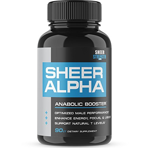 Sheer ALPHA Testosterone Booster Supplement – 800mg Horny Goat Weed and More For Boosting Muscle Growth, Stamina, Libido, and Endurance, 90 Capsules, 30 Day Supply