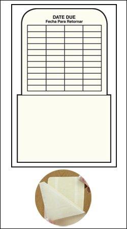 "Bilingual Self Adhesive Book Pockets - Date Due - High Back - 6-1/2""H x 3-1/2""W x 2-1/2""D - 500pk"