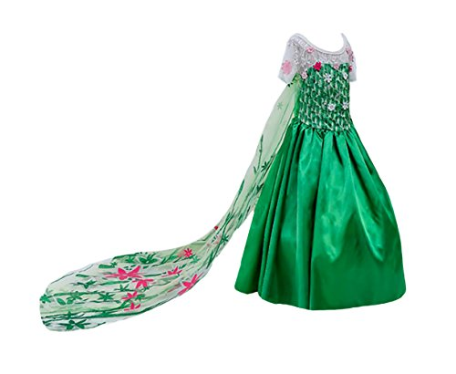 ANNA ELSA Frozen Fever Girl's Birthday Dress Costume (3 Years, Bright Green) 2018