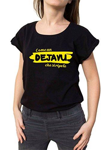 DEJAVU shirt donna corta in Bemode Nero manica T cotone Hw0C4qZ