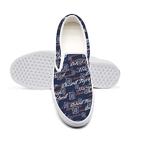 (Detroit Tigers Casual Loafers Womens Retro Skate Canvas Gym)