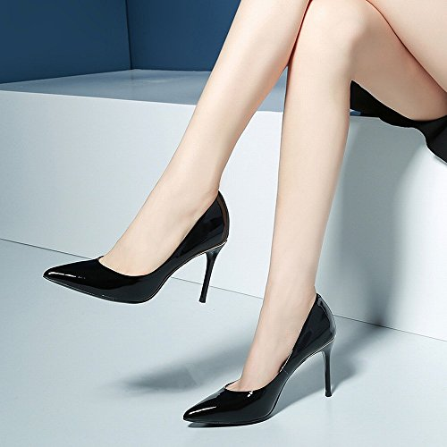 Chaussures Travail Verni Astuce SED en Femme avec Sexy Talons Chaussures Fine Hauts des Noire L'Automne Printemps Semelle Et Noir Cuir de ZgrHqw7ZW