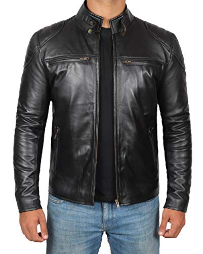 Black Leather Jacket Men - Lambskin Biker Leather Jacket