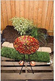 Hues Mosaic Art Glass Bird Bath