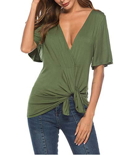 Eanklosco Womens Deep V Neck Sexy Tops Knot Blouse Short Sleeve Causal Summer Shirts (Green, M)