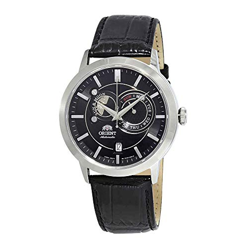 - Orient Men's 42mm Black Leather Band Steel Case Sapphire Crystal Automatic Analog Watch FET0P003B0