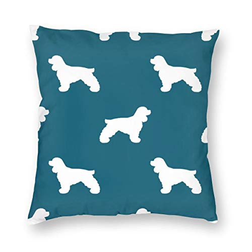 Decorative Square Throw Pillow Covers Cocker Spaniel Silhouette Fabric Dog Breeds Sapphire_940 Cushion Case for Sofa Bedroom Car 18 x 18 Inch 45 x 45 cm