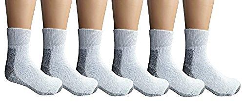 Yacht & Smith Mens & Womens Wholesale Bulk Sports Crew, Athletic Case Pack Socks, by SOCKS'NBULK (6 Pairs Ankle White, Mens 10-13 (Shoe Size 7-12))