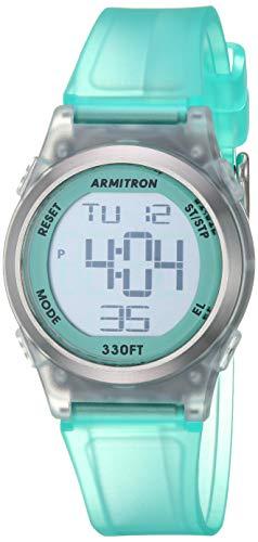 Armitron Sport Women's 45/7102TTL Digital Chronograph Translucent Matte Teal Resin Strap Watch ()