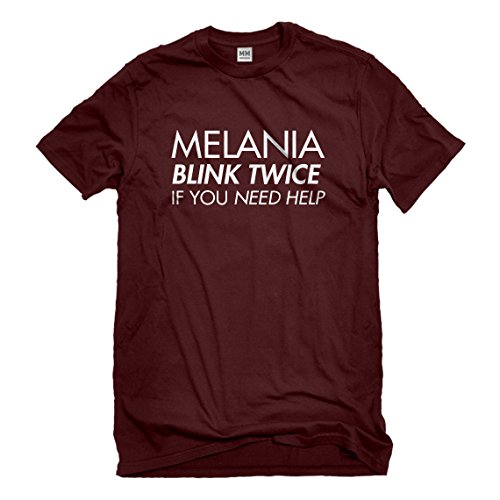 Indica Plateau Mens Melania Blink Twice if You Need Help! X-Large Maroon T-Shirt