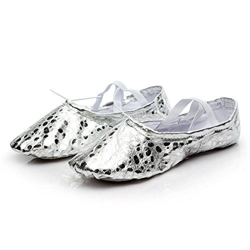 MSMAX Girl's Spot Pu Ballet Dancing Yoga Practise Shoes,Silver,8.5 M US by MSMAX (Image #4)