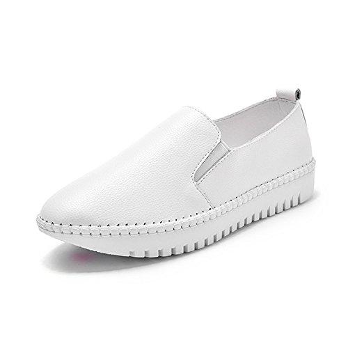 Zapatos blancos de punta redonda casual para mujer 6TjzVudif