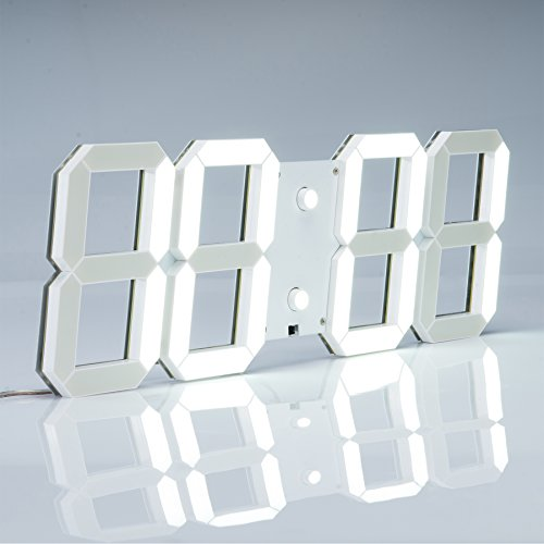 Pinty UPGRADED Multi-Purpose Large LED Digital Wall Clock with Alarm Countdown Timer Temperature Date, Remote Control (White Shell White Digital)