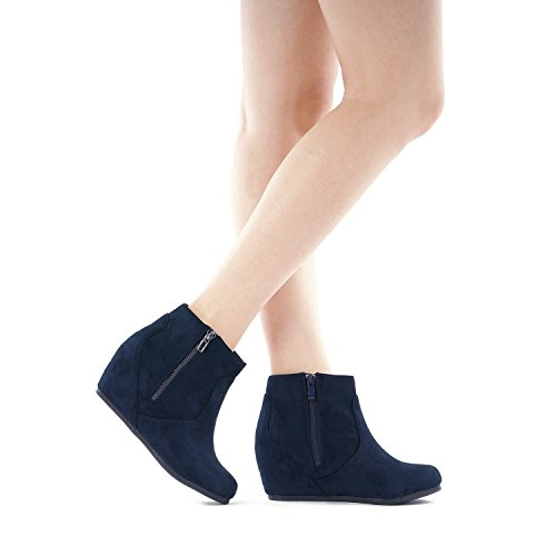 DREAM Navy NARIE Suede PAIRS Low Boots Ankle New Wedges Women's xwxprFHz