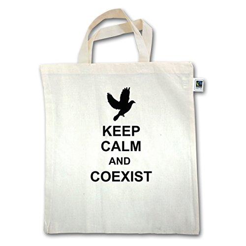 Keep calm - Keep calm and coexist - Unisize - Natural - XT500 - Jutebeutel kurzer Henkel