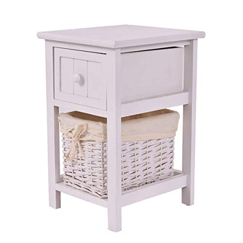 Giantex Mini Night Stand with Drawer and Layer Wood Bedside End Table Organizer Bedroom Nightstands with Wicker Basket (1)