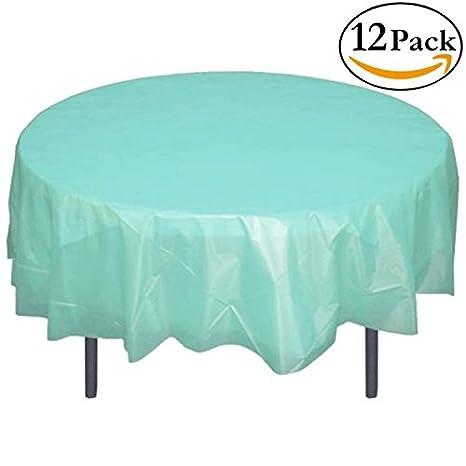 Delightful Exquisite 12 Pack Premium Plastic 84 Inch Round Tablecloth   Aqua Blue