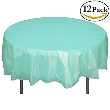 Exquisite 12 Pack Premium Plastic 84 Inch Round Tablecloth   Aqua Blue