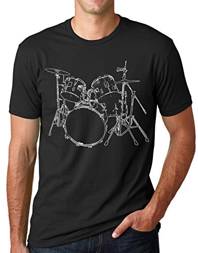 Think Out Loud Apparel Drums T-Shirt Artistic Design Drummer Tee Black L ()