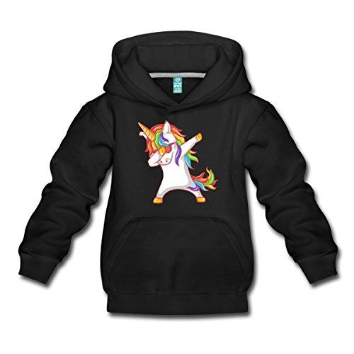 Spreadshirt Dabbing Unicorn With Sunglasses Kids Premium Hoodie, Youth M, Black