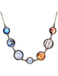 Full Moon Necklace Double-sided Planet Handmade Sun Moon Necklace Statement Space Necklace or Bracelet