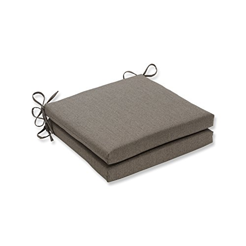Pillow Perfect Indoor/Outdoor Squared Corners Seat Cushion (Set of 2) with Sunbrella Linen Sesame Fabric, 20 in. L X 20 in. W X 3 in. D (Linen Cushion)