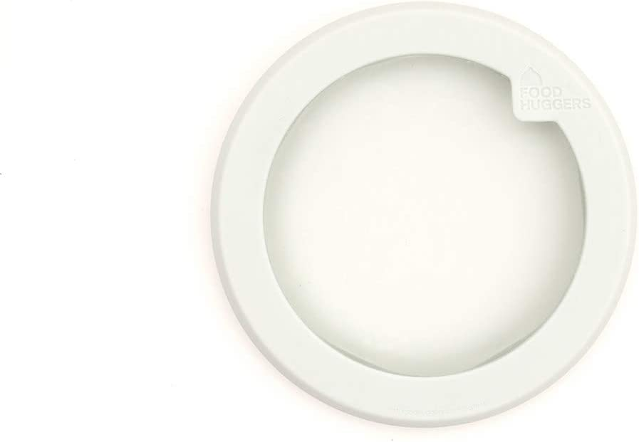 Food Huggers Flexible Stackable Silicone & Glass Bowl Lid, Small White