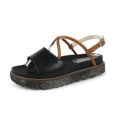 Damen Sommer Sandalen Mode Dicke Unten Offenen Zeh Wild Römische Schuhe, Schwarz, 41