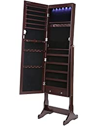 SONGMICS Lockable Jewelry Cabinet Standing Jewelry Armoire Organizer with  Mirror LED Light, Brown