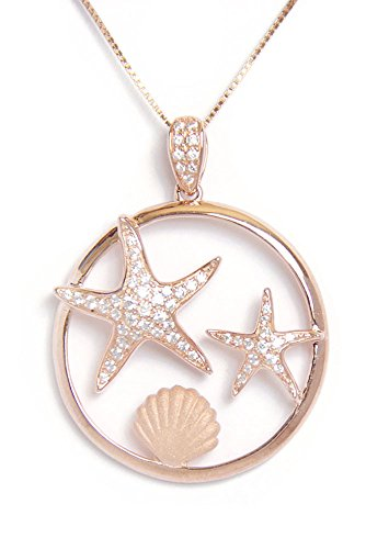 Rose Gold Plated Sterling Silver Pave CZ Starfish Sunrise Shell Circle Necklace Pendant With 18