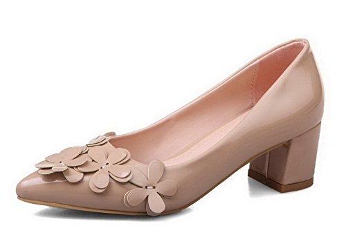 à Couleur Chaussures Talon Tire Légeres Femme Beige Unie Correct VogueZone009 Verni Pointu TU1npqax
