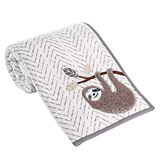 Lambs & Ivy Baby Jungle Gray/White Sherpa Sloth Baby Blanket