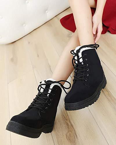 Stivali Neve Nero Moda Pelliccia Up Boots Cavaliere Donna Sneaker Snow Autunno Lace Inverno WqYYTX
