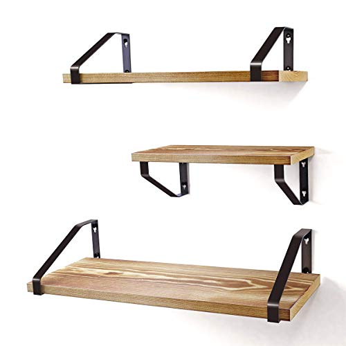 Homemaxs Floating Shelves Wall Mounted Set of 3, Natural Rustic Solid Wood Wall Shelves with 3 Display Modes for Bathroom, Bedroom, Kitchen, Living Room