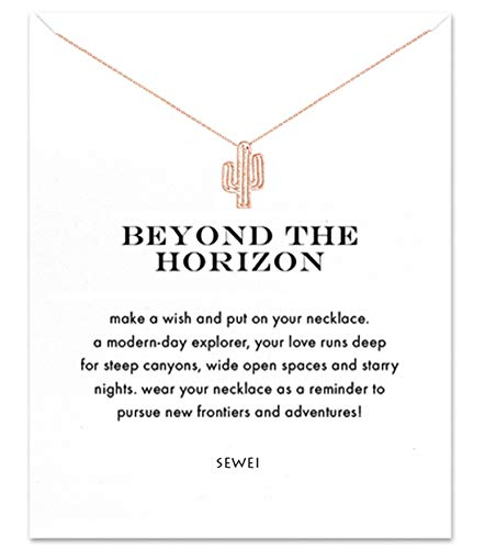 SEWEI Stay Sharp Cactus Necklace with Message Card Gift Card ()