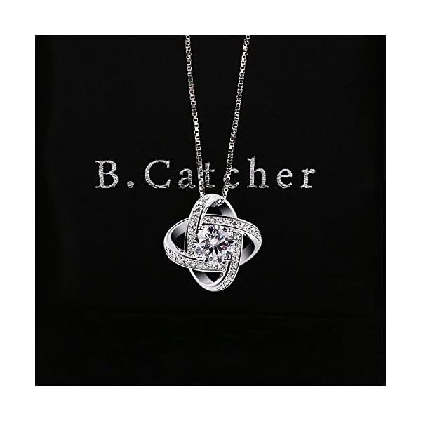 B.Catcher Collana con pendenti gemelli in zircone cubico ed argento 925 4