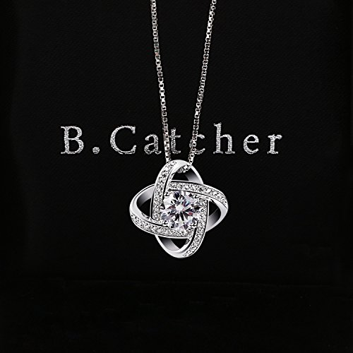 B.Catcher Silver Necklace Womens 925 Silver Cubic Zirconia Pendant Gemini Necklace Mother's Day Gift by B.Catcher (Image #3)