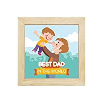 YaYa cafe Best Dad in The World Desk Clock for Dad 8x8 inc