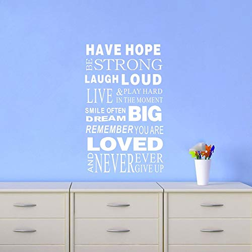 Tonaes Wall Decor Stickers for Living Room Have Hope Strong Laughj Loud Stickers Family Rules Home DecorQuotes -